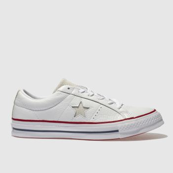 2f0391ddd5632d Converse White One Star Leather Ox Womens Trainers