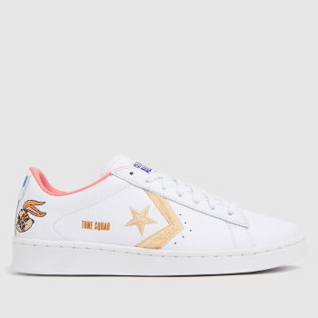 Converse White & Beige Pro Leather Ox Space Jam Womens Trainers