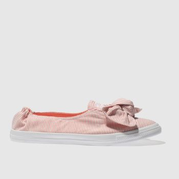 Converse White & Orange All Star Stripe Knot Slip Womens Trainers