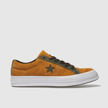 CONVERSE ORANGE ONE STAR OX SUEDE TRAINERS