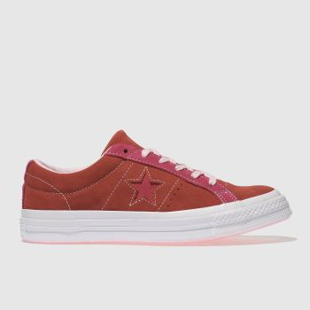 Converse Red One Star Ox Suede Womens Trainers 3942e841b
