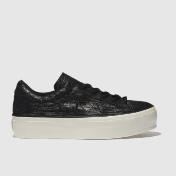 Converse Black & White One Star Platform Ox Womens Trainers