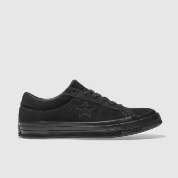 CONVERSE BLACK MONO ONE STAR OX SUEDE TRAINERS