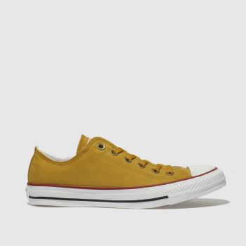 CONVERSE YELLOW CHUCK TAYLOR PEACHED CANVAS TRAINERS