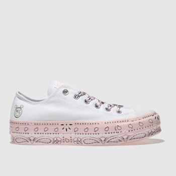 Converse White & Pink All Star Miley Cyrus Lift Ox Womens Trainers