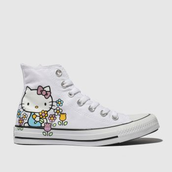 Converse White All Star Hello Kitty Hi Womens Trainers
