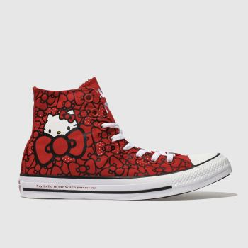 Converse Red All Star Hello Kitty Hi Womens Trainers
