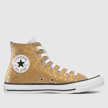 Converse Gold Leopard Glitter Hi Womens Trainers
