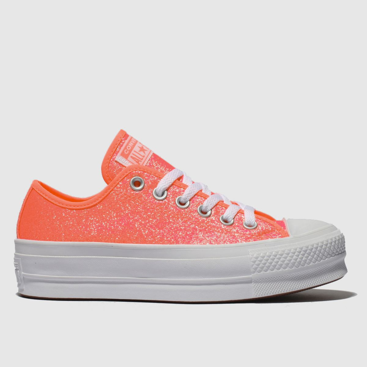 Converse White & Pink Clean Lift Glitter Platform Trainers