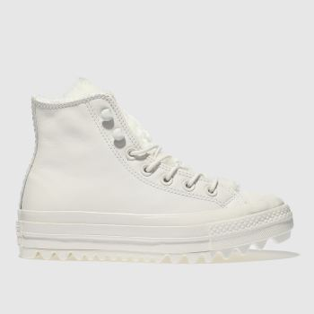 CONVERSE WHITE ALL STAR LIFT RIPPLE HI TRAINERS