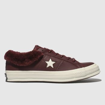 Converse Burgundy One Star Shearling Womens Trainers