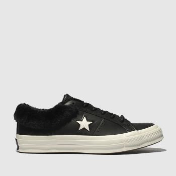 Converse Black & White One Star Shearling Womens Trainers