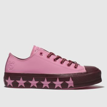 Converse Pink All Star Lift Ox X Miley Cyrus Womens Trainers