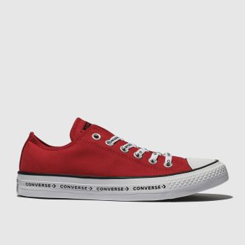 03bfe45b586456 Converse Red All Star Ox Logo Laces Canvas Womens Trainers