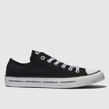 1cb7a34e10d8a9 Converse Black   White All Star Ox Logo Laces Canvas Womens Trainers