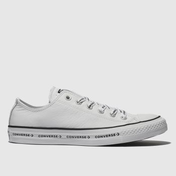 Converse White & Black All Star Ox Logo Laces Leather Womens Trainers