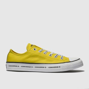 Converse Yellow All Star Ox Logo Laces Leather Womens Trainers