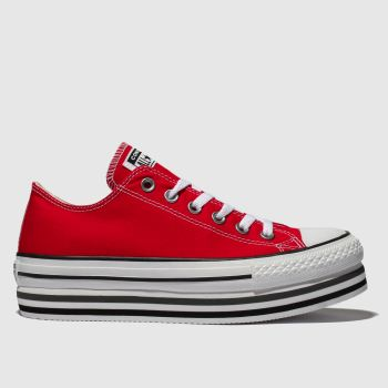 Converse Red All Star Platform Layer Ox Womens Trainers