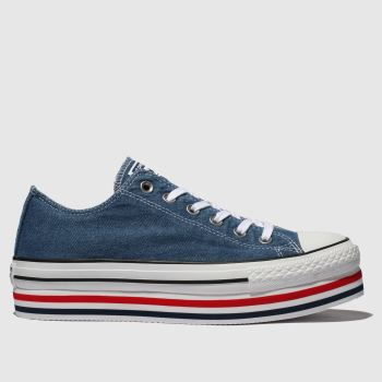 Converse Blau All Star Platform Layer Ox Damen Sneaker