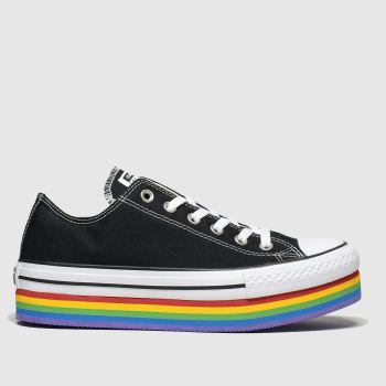 Converse Black & White All Star Platform Rainbow Ox Womens Trainers