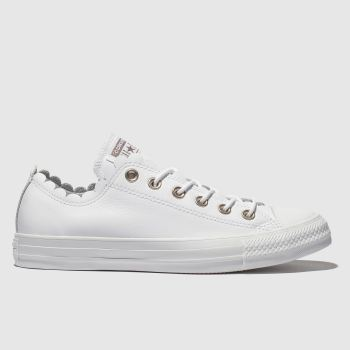 36ca073657852f Converse White All Star Frilly Thrills Ox Womens Trainers