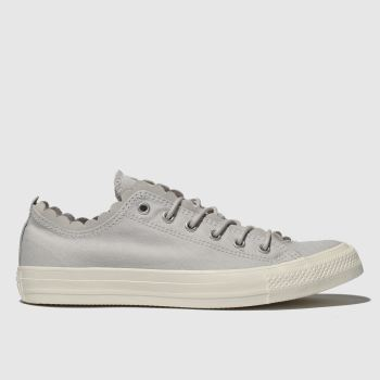 Converse Light Grey All Star Frilly Thrills Ox Womens Trainers