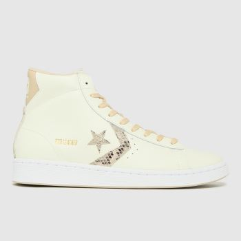 Converse White Pro Leather Snake Hi Womens Trainers