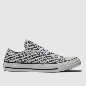 Converse White & Black All Star Wordmark 2.0 Ox Womens Trainers