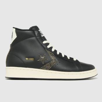 Converse Black Pro Leather Snake Hi Womens Trainers