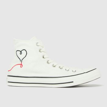 Converse White & Black Love Thread Hi Womens Trainers