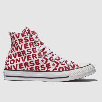 Converse White & Red All Star Wordmark 2.0 Hi Womens Trainers