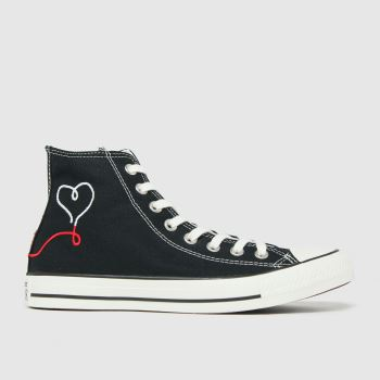 Converse Black & Red Love Thread Hi Womens Trainers