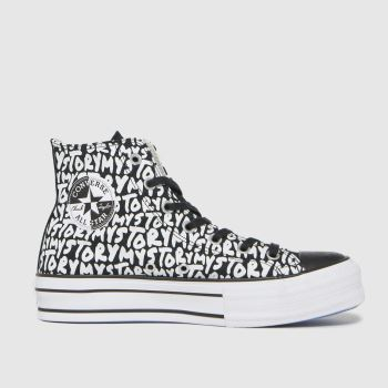 Converse White & Black My Story Double Stack Hi Womens Trainers