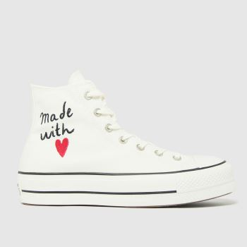 Converse White & Black Lift Hi Love Thread Womens Trainers