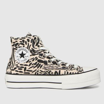 Converse Pink & Black Jungle Art Lift Womens Trainers
