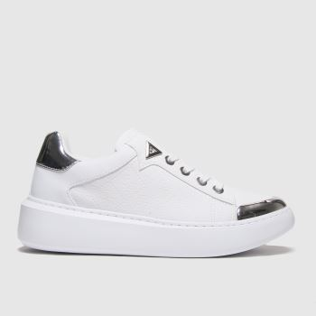 GUESS White & Silver Brandyn Womens Trainers#