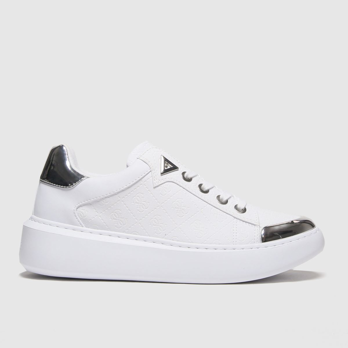 Guess White & Silver Brandyn Trainers