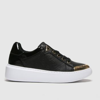 GUESS Black & Gold Brandyn Womens Trainers#