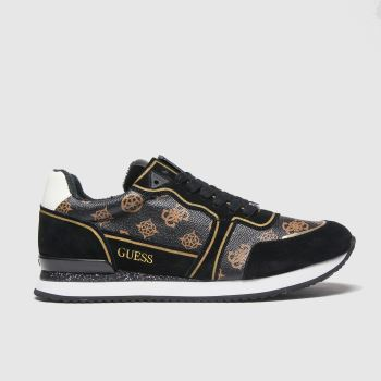 GUESS Black & Brown Agos Womens Trainers#