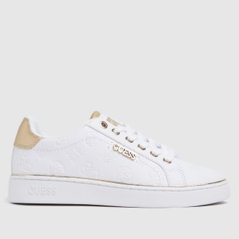 GUESS White & Gold Beckie Womens Trainers