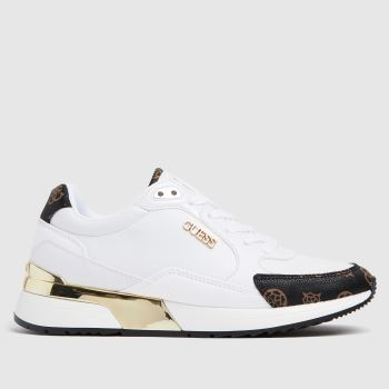 GUESS White & Brown Moxea Womens Trainers