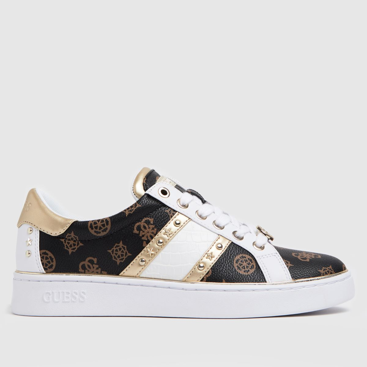 GUESS White & Brown Bevlee Trainers