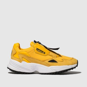 adidas yellow falcon zip trainers