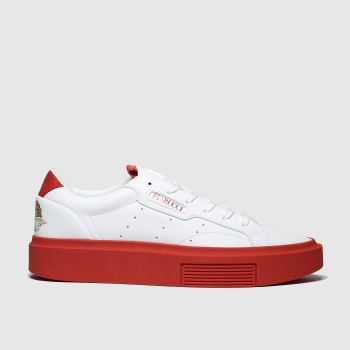 Adidas White & Red Fiorucci Sleek Super Womens Trainers