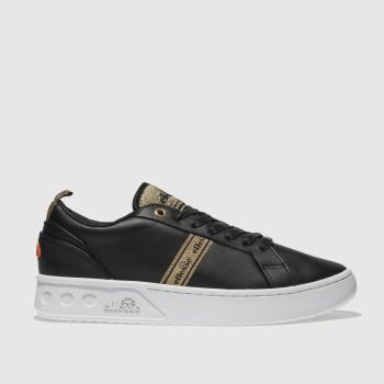 ELLESSE BLACK & GOLD MEZZALUNA TP LEATHER TRAINERS