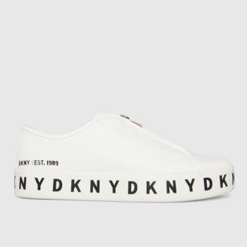 DKNY White Bella Zip Up Sneaker Womens Trainers