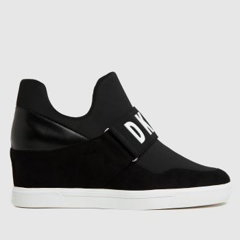 DKNY Black & White Cosmos Wedge Womens Trainers