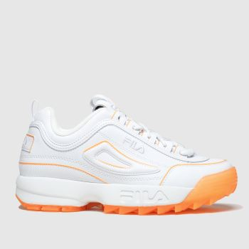 Fila White & Orange Disruptor Ii Ice Womens Trainers