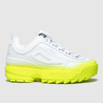 Fila White & Yellow DISRUPTOR II BRIGHTS FADE Trainers