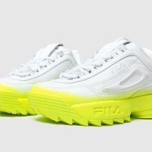 Damen fila Weiß gelb Disruptor Ii Brights Fade Sneaker